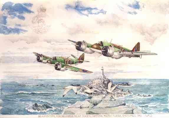 Beaufighters, 404 Squadron R.C.A.F. Coastal Command, Muckle Flugga, Shetlands 1942 - painting © Alan Mann 2003