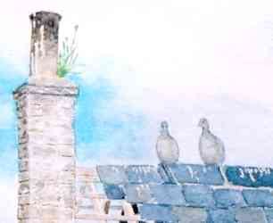Pigeons on the roof - a detail from Beware of Trains